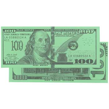 Learning Advantage™ Play Money, One Hundred Dollar Currency, 50/PK
