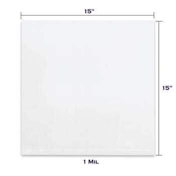 "LADDAWN Flat 1 Mil Poly Bags, 15"" x 15"", Clear, 1000/CS"