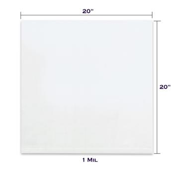 """LADDAWN Flat 1 Mil Poly Bags, 20"""" x 20"""", Clear, 1000/CT"""