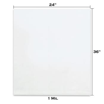 "LADDAWN Flat 1 Mil Poly Bags, 24"" x 36"", Clear, 500/CS"