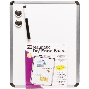 Magnetic Dry Erase Board, 11 X 14, With Marker & Magnets