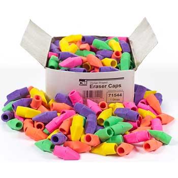 Charles Leonard, Inc. Pencil Eraser Caps, Assorted Colors, 144/BX