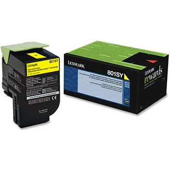 Lexmark™ 80C1SY0 Toner, 2000 Page-Yield, Yellow
