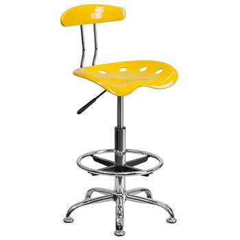 Flash Furniture Vibrant Orange-Yellow and Chrome Drafting Stool with Tractor Seat