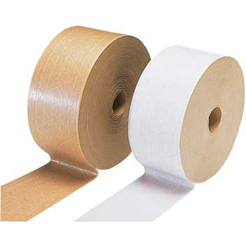 W.B. Mason Co. Water Activated Reinforced Tape, 72mm x 450', 240 grade, Kraft, 10/CT