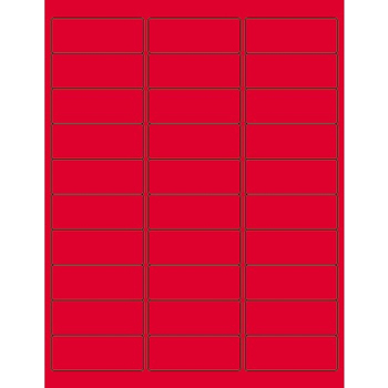 """Rectangle Laser Labels, 2 5/8"""" x 1"""", Fluorescent Red, 3000/CS"""