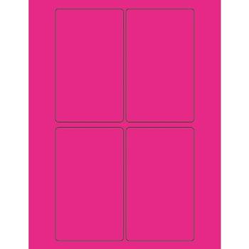 "Tape Logic® Rectangle Laser Labels, 3"" x 5"", Fluorescent Pink, 400/CS"