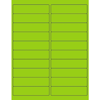 "Tape Logic® Rectangle Laser Labels, 4"" x 1"", Fluorescent Green, 2000/CS"