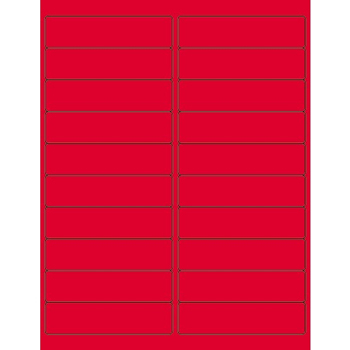 """Rectangle Laser Labels, 4"""" x 1"""", Fluorescent Red, 2000/CS"""