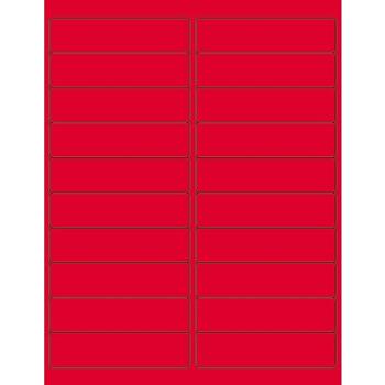 "Tape Logic® Rectangle Laser Labels, 4"" x 1"", Fluorescent Red, 2000/CS"