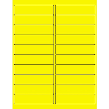 "Rectangle Laser Labels, 4"" x 1"", Fluorescent Yellow, 2000/CS"