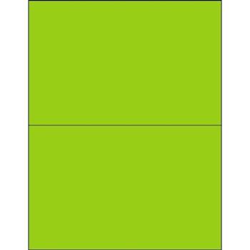 "Tape Logic® Rectangle Laser Labels, 8 1/2"" x 5 1/2"", Fluorescent Green, 200/CS"