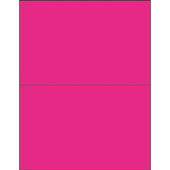 "Rectangle Laser Labels, 8 1/2"" x 5 1/2"", Fluorescent Pink, 200/CS"