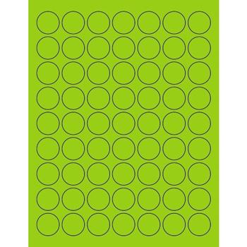 "Circle Laser Labels, 1"", Fluorescent Green, 6300/CS"