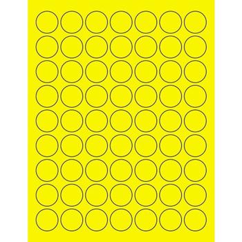 "Tape Logic® Circle Laser Labels, 1"", Fluorescent Yellow, 6300/CS"