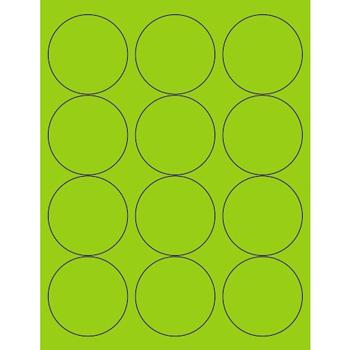 "Tape Logic® Circle Laser Labels, 2 1/2"", Fluorescent Green, 1200/CS"