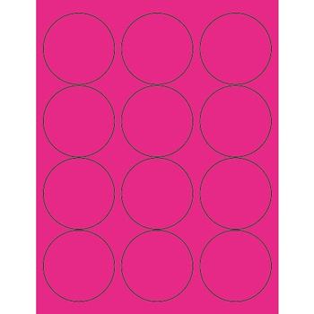 "Tape Logic® Circle Laser Labels, 2 1/2"", Fluorescent Pink, 1200/CS"
