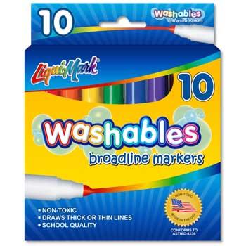Liqui-Mark® Washable Markers, Broad, 10/ST