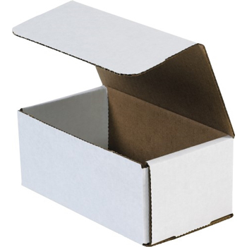 """Corrugated mailers, 7"""" x 4"""" x 3"""", White, 50/BD"""