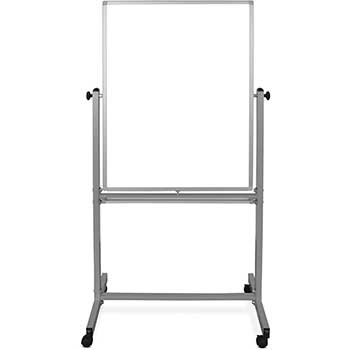 """Luxor Magnetic Double-Sided Dry-Erase Mobile Whiteboard, Steel, 30""""W x 40""""H, Aluminum Frame"""