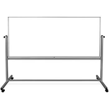 "Magnetic Double-Sided Dry-Erase Mobile Whiteboard, Steel, 96""W x 40""H, Aluminum Frame"