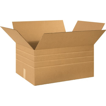"Multi-Depth Corrugated boxes, 24"" x 18"" x 12"", Kraft, 10/BD"
