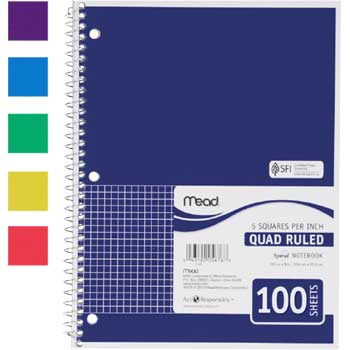 Mead® Spiral® Quad Ruled Notebook, 1 Subject, Wirebound, 100 Sheets
