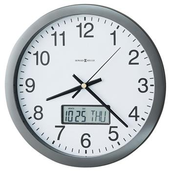 """Howard Miller® Chronicle Wall Clock with LCD Inset, 14"""", Gray"""