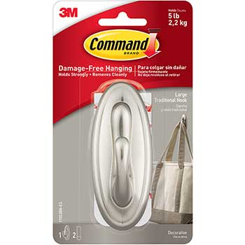 Command™ Decorative Hooks, Traditional, Large, 1 Hook & 2 Strips/Pack