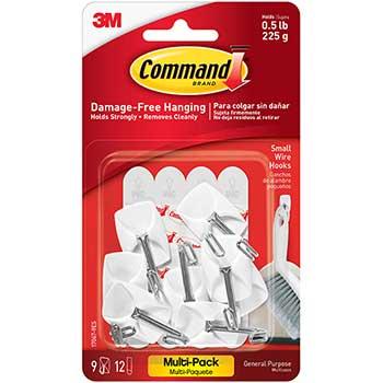 Command™ General Purpose Hooks, Small, Holds 1lb, White, 9 Hooks & 12 Strips/Pack