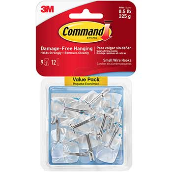 Clear Hooks & Strips, Plastic/Wire, Small, 9 Hooks w/12 Adhesive Strips per Pack
