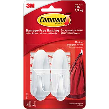 Command™ General Purpose Hooks, Designer, Holds 3lb, White, 2 Hooks & 4 Strips/Pack