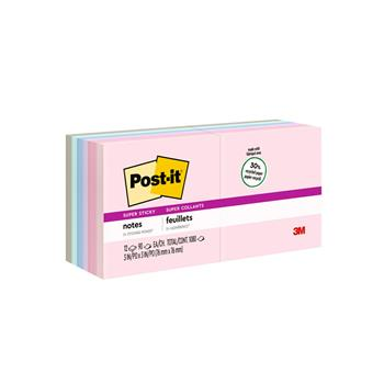 Post-it® Notes Super Sticky, Recycled Notes in Bali Colors, 3 x 3, 90-Sheet, 12/Pack