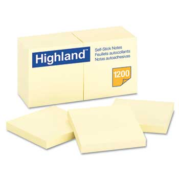 "Self-Stick Pads, 3"" x 3"", Yellow, 100 Sheets, 12/PK"