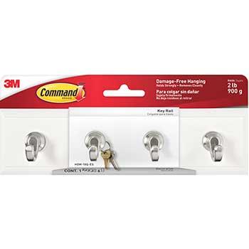 Command™ Decorative Key Rail, 8w x 1 1/2d x 2 1/8h White/Silver, 4 Hooks/Pack