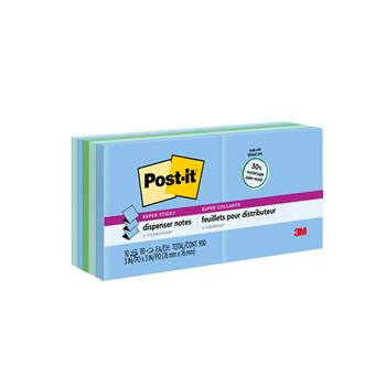 Post-it® Super Sticky Pop-up Recycled Notes in Bora Bora Colors, 3 x 3, 90-Sheet, 10/Pack