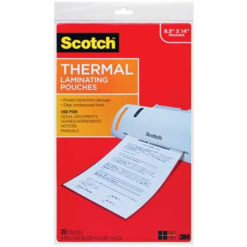 """Scotch™ Legal Size Thermal Laminating Pouches, 3 mil, 8.5"""" x 14"""", 20/Pack"""