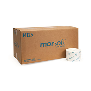 "Morcon Tissue Morsoft® Bath Tissue, 1-Ply, 3.9"" x 4.0"", 2,500 Sheets/Roll, 24 Rolls/CT"