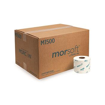 "Morcon Tissue Morsoft® Bath Tissue, 1-Ply, 3.9"" x 4.0"", 1,500 Sheets/Roll, 36 Rolls/CT"
