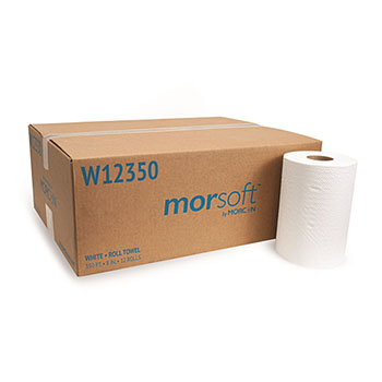 """Morcon Tissue Morsoft® Hard Wound Roll Towel, 8"""" Width, White, 350 Feet/Roll, 12 Rolls/CT"""