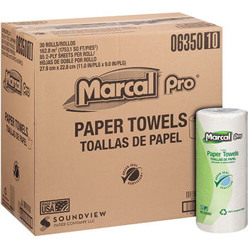 100% Recycled Paper Towel, White, 2-Ply, 85 Sheets/RL, 30 Rolls/CT