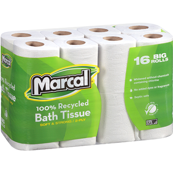 100% Recycled Bath Tissue, White, 2-Ply, 168 Sheets/RL, 96 Rolls/CT
