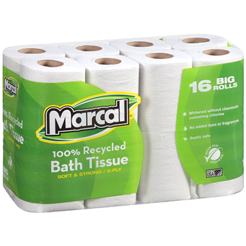 100% Recycled Bath Tissue, White, 2-Ply, 16 Rolls/PK