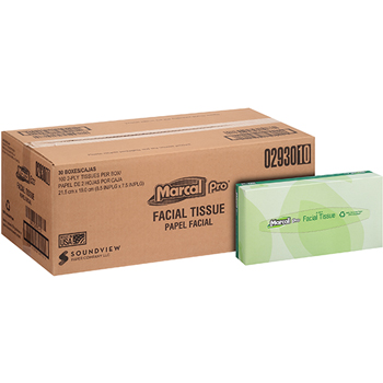 100% Recycled Facial Tissue, White, 2-Ply, 100 Tissues/BX, 30 Boxes/CT