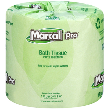 100% Recycled Bath Tissue, 2-Ply, White, 242 Sheets, 48/CT