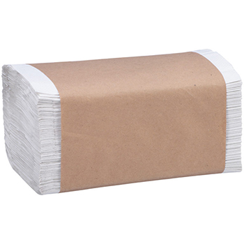 100% Recycled Folded Paper Towels, 1-Ply, White, 4008/CT