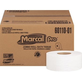 """Marcal PRO™ 100% Recycled Jumbo Roll Bath Tissue, White, 1-Ply, 2000 ft./Roll, 9"""" dia., 12/CT"""