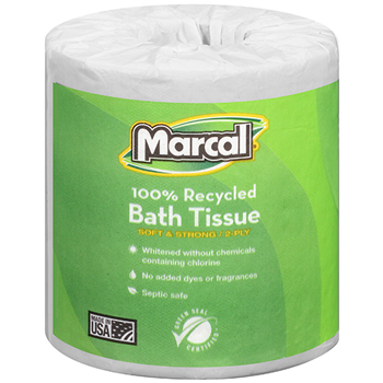 100% Recycled Bath Tissue, White, 2-Ply, 330 Sheets/RL, 48 Rolls/CT