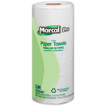 100% Recycled Paper Towel, White, 2-Ply, 70 sheets, 15/CT