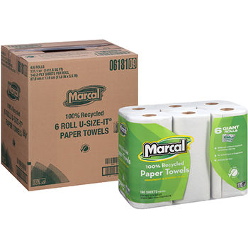 Marcal® 100% Recycled Giant Roll Paper Towel, White, 2-Ply, 140 Sheets/RL, 24 Rolls/CT
